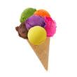 Leinwandbild Motiv Ice cream scoops on cone
