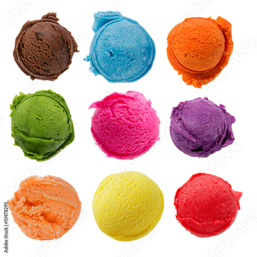 Staande foto Zuivelproducten Ice cream scoops collection on white background