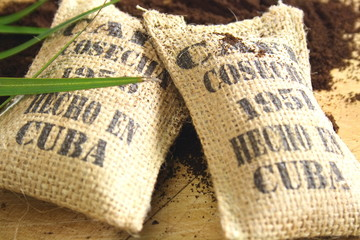 Burlap sacks of Cuban coffee