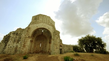 romanic chapel ruins in Tuscany