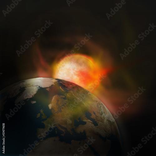 Erde Sonne Explosion