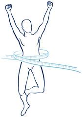 Silhouette maschile in forma con metro