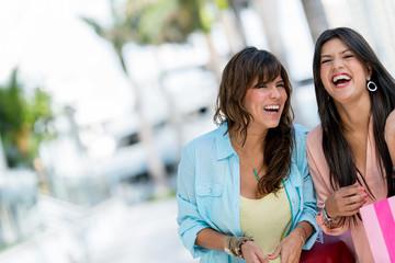 Shopping women having fun