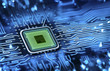 Leinwandbild Motiv microchip integrated on motherboard