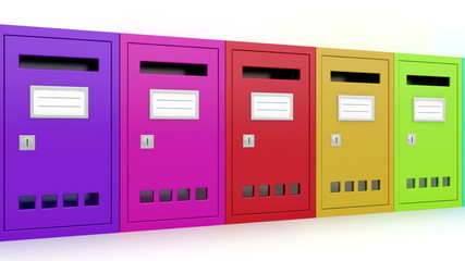 Colorful mailboxes