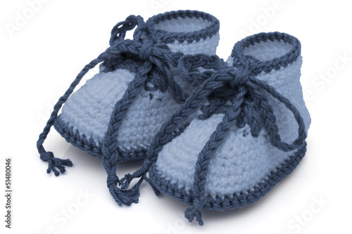 Blue Hand-made baby booties