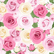 Vector seamless pattern with pink and white roses.