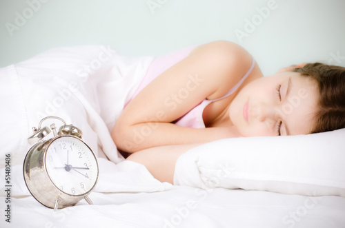 girl  and alarm clock