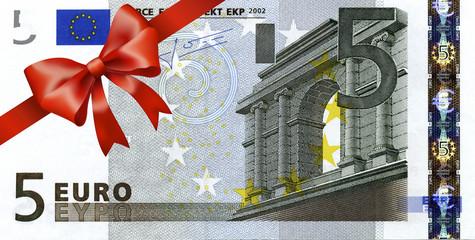 5 Euroschein mit rotem Band und Schleife