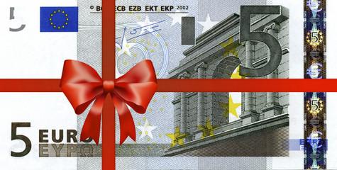 5 Euroschein mit Geschenkband