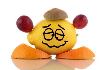 Diet again... Funny fruits, emoticon on white background