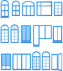 set of blue window icons