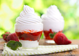 Frozen yogurt with strawberry