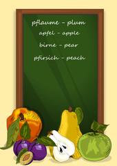 Obst , Tafel mit Schrift