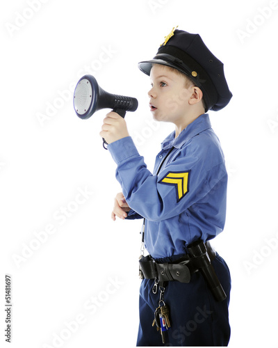 Little Cop Using Megaphone