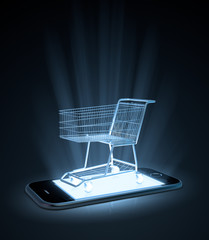 Shopping cart on  a smart phone
