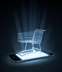 Shopping cart on  a smart phone
