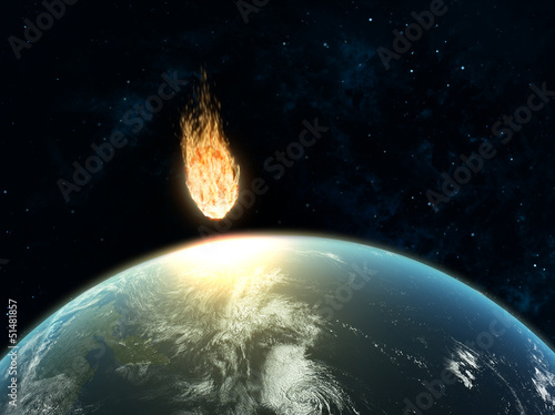 Large asteroid hiting Earth