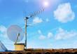 satellite antenna and sun