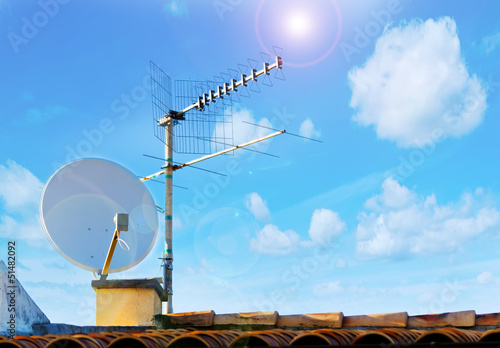 satellite antenna and sun