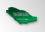 Three dimensional map of Saudi Arabia in flag colors