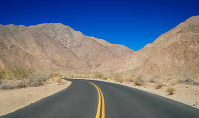 Winding Road through California Desert Hills