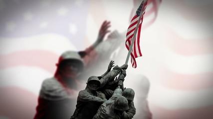 Iwo Jima Memorial and American Flag