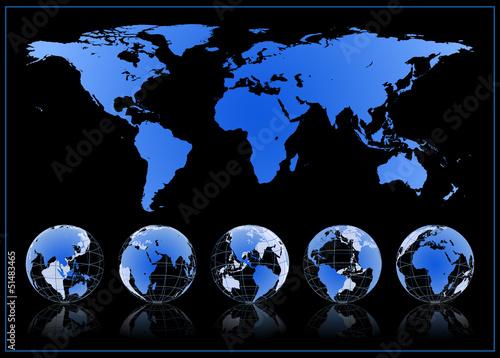 Szczegółowa mapa świata i globusy vector