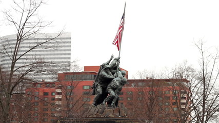 Iwo Jima Memorial with the city of Arlington in background