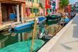 A colorful street in Burano island in venetian lagoon