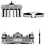 berlin famous monument icon set
