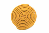 Mosquito repellent incense coil isolated on white background