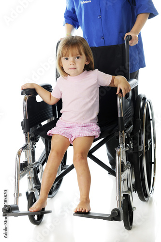 Tiny Hospital Patient in a Discharge Wheelchair