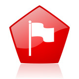 flag red pentagon web glossy icon