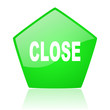 close green pentagon web glossy icon