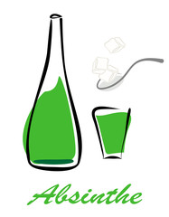 Bottle of absinthe, short glass and spoon with lump sugar