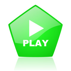 play green pentagon web glossy icon