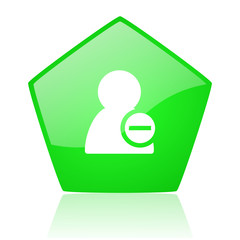 remove contact green pentagon web glossy icon