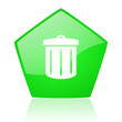 recycle green pentagon web glossy icon