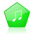 music green pentagon web glossy icon