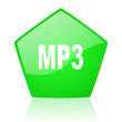 mp3 green pentagon web glossy icon