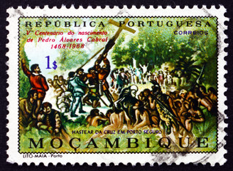 Postage stamp Portuguese Mozambique 1970 Raising the Cross at Po