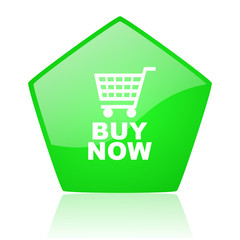 buy now green pentagon web glossy icon