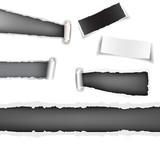 Set torn paper grey