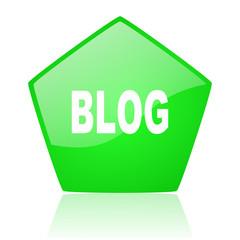 blog green pentagon web glossy icon