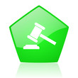 law green pentagon web glossy icon