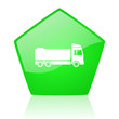 truck green pentagon web glossy icon