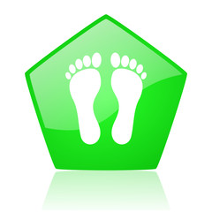 footprint green pentagon web glossy icon