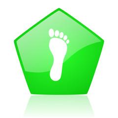 footprint green pentagon web glossy icon