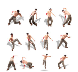 Collage of Dancer with naked chest